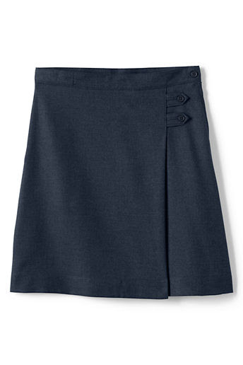 Girls' Solid A-line Skirt (Below The Knee) - Classic Navy, 14