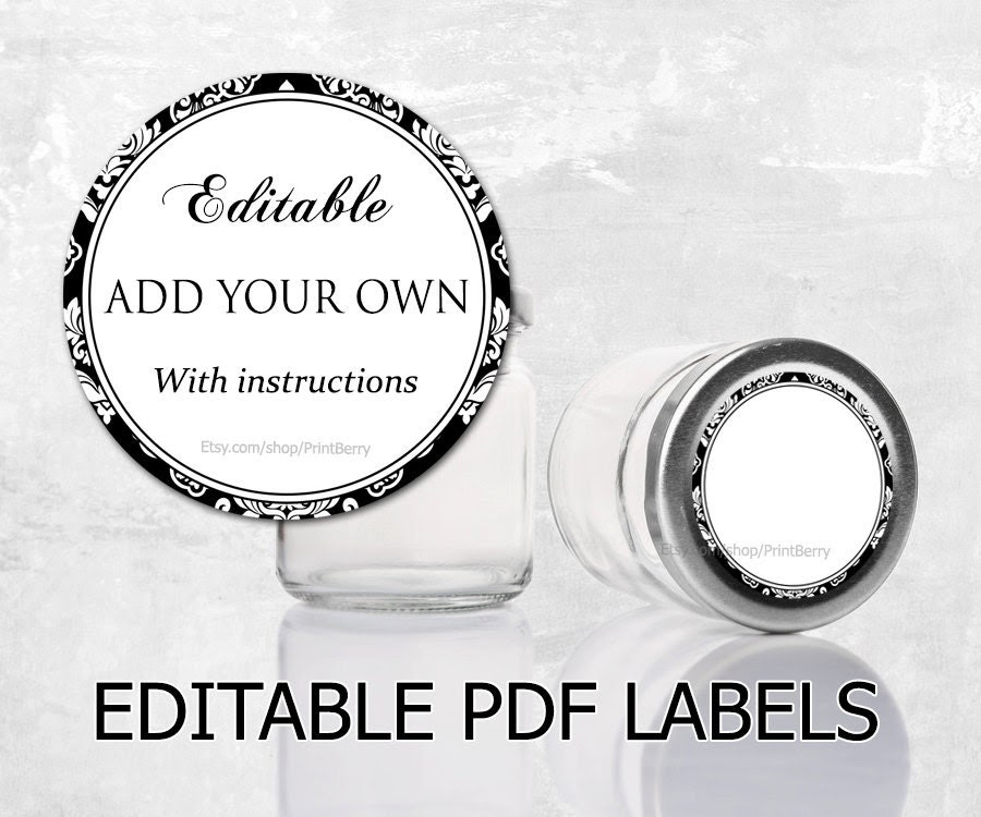 Editable labels Damask labels for mason jars by PrintBerry on Etsy