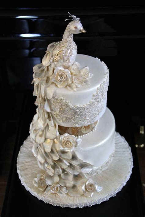 Decorate The Cake: Pearl Peacock Wedding Cake featuring