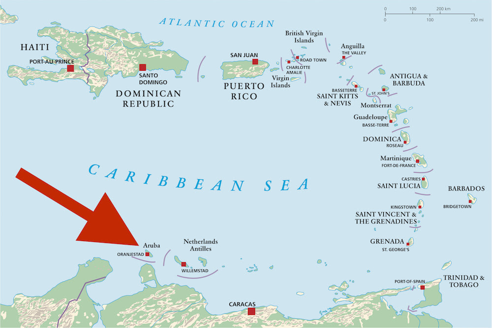 a picture that shows where is Aruba located