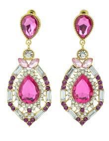 Red Drop Gemstone Gold Hollow Earrings