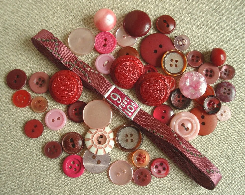 Vintage button collection & ribbon in mauve plum burgundy