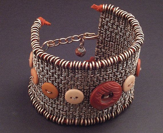 Twined Copper Wire Woven Button Cuff by Mary Tucker of Wired Elements  Love the weave!!!!!!