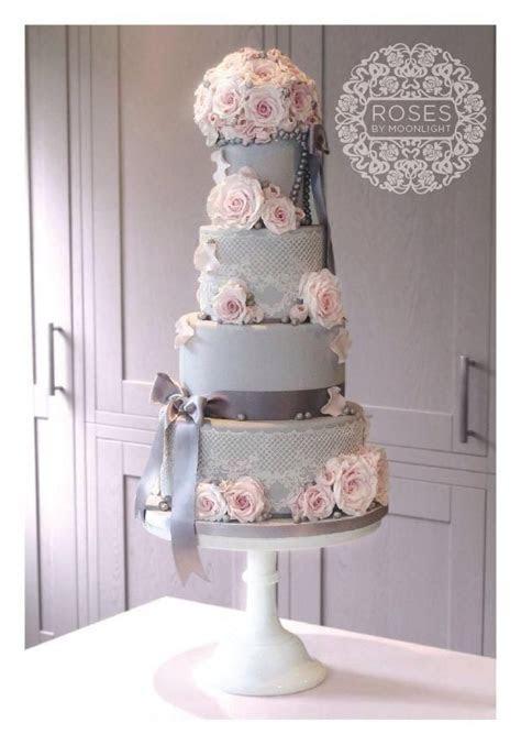Best 20  Pink and grey wedding cake ideas on Pinterest
