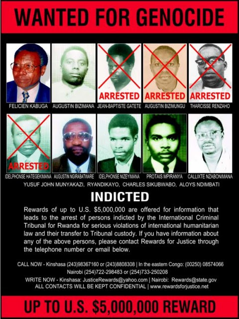 Wanted poster, published by the Rewards for Justice program, seeking key perpetrators who have been indicted by the International Criminal Tribunal for Rwanda (ICTR).