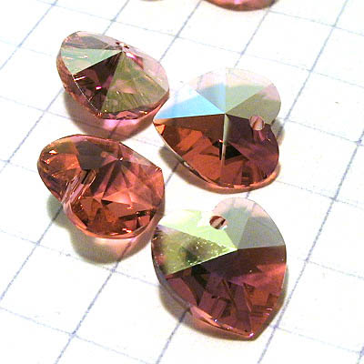 34762021052542 Swarovski Pendant - 10 mm Faceted Heart (6202) - Padparadscha AB (1)