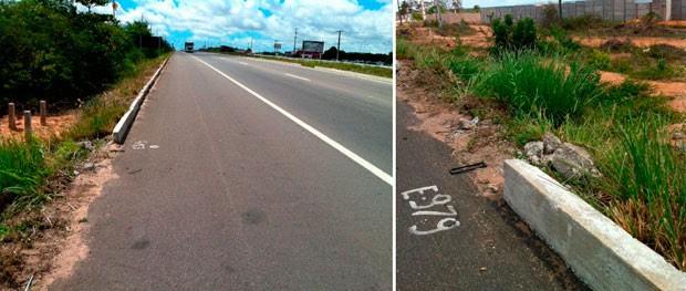Local na BR-304 onde aconteceu o acidente que vitimou o estudante (Foto: Aline Bezerra/G1)