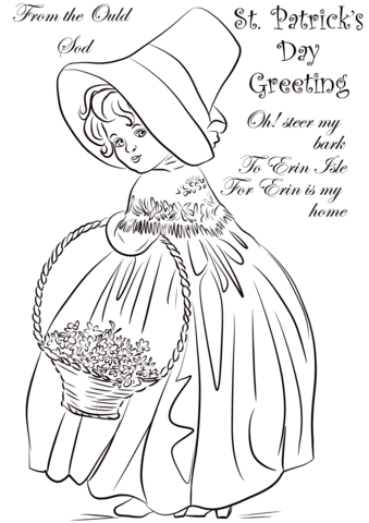 st patrick's day vintage greeting card coloring page  free printable coloring pages