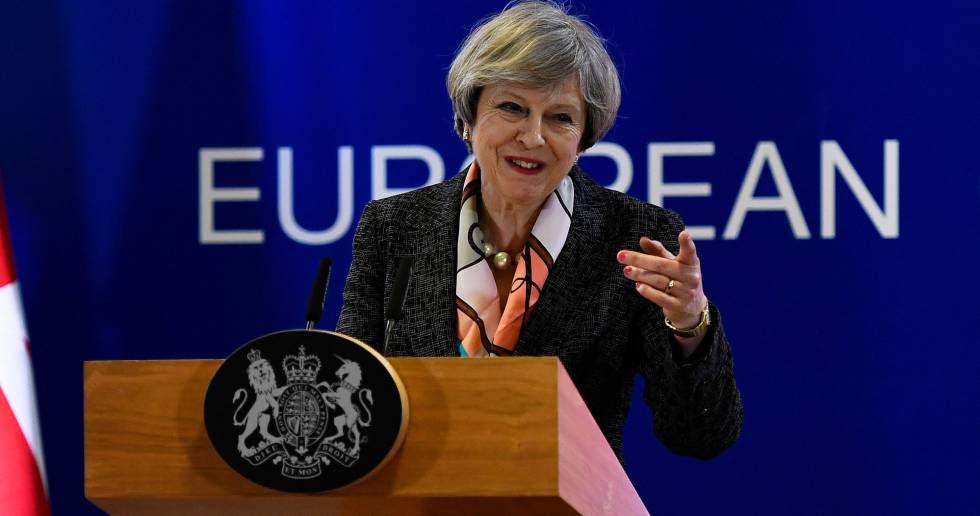 La primera ministra británica, Theresa May, en conferencia de prensa des Bruselas, el pasado 9 de marzo.