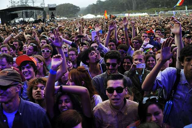 Outside Lands attendees listen to Beck at Polo Field stage at Golden Gate Park on Friday, Aug 10, 2012 in San Francisco, Calif. Photo: Yue Wu, The Chronicle / SF