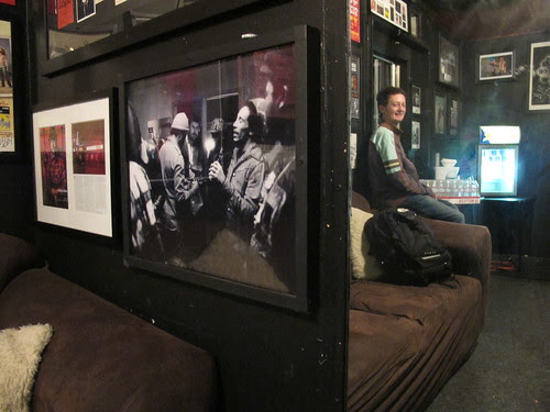 Dusk in the Green Room, the Roxy, next to a photo of Bob in said room...