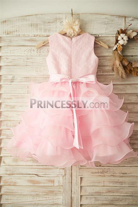 Pink Beaded Lace Tiered Ruffle Organza Cupcake Skirt
