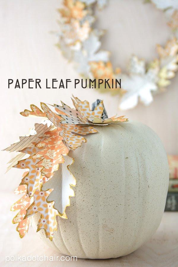 Paper Leaf Pumpkin from Polka Dot Chair  |  25 Creative DIY Pumpkins at www.andersonandgrant.com