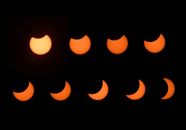 A composite image consisting of photos that I took during the Great American Eclipse on August 21, 2017.
