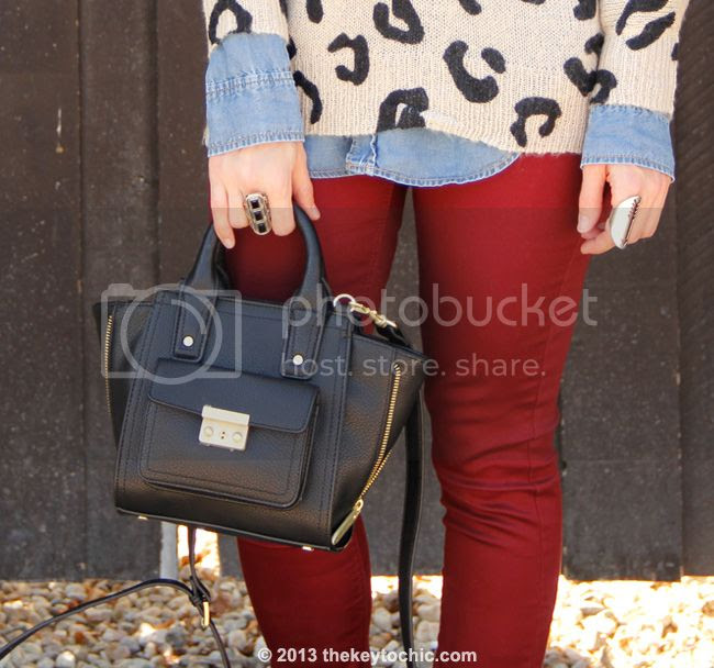 Charlotte Russe leopard print sweater and burgundy skinny jeans, Phillip Lim for Target black mini satchel