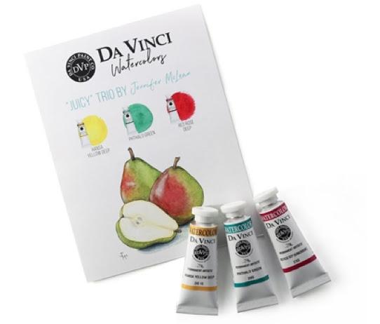 A picture of Da Vinci watercolour trio Jenn McLean inspired