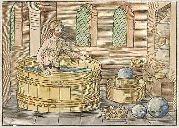 Archimedes in his bath, Johann Petrejus, 1547