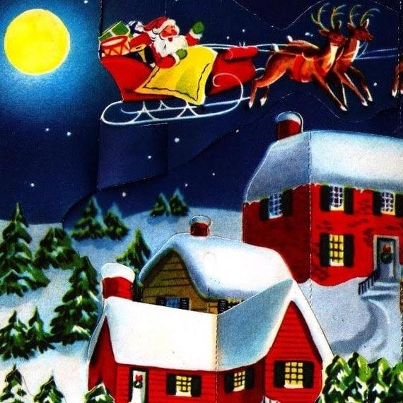 Vintage Christmas Card Pop-Up Santa's Sleigh Reindeer Moon