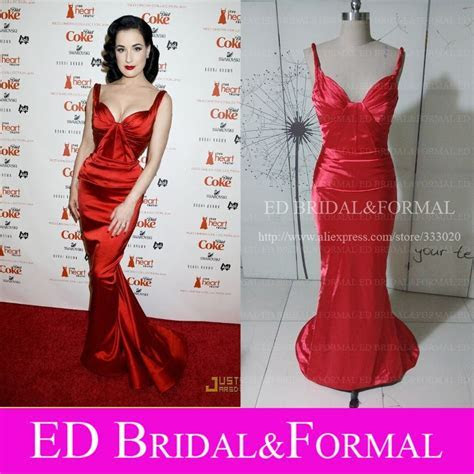 Dita Von Teese Red Carpet Red Mermaid Prom Gown Celebrity