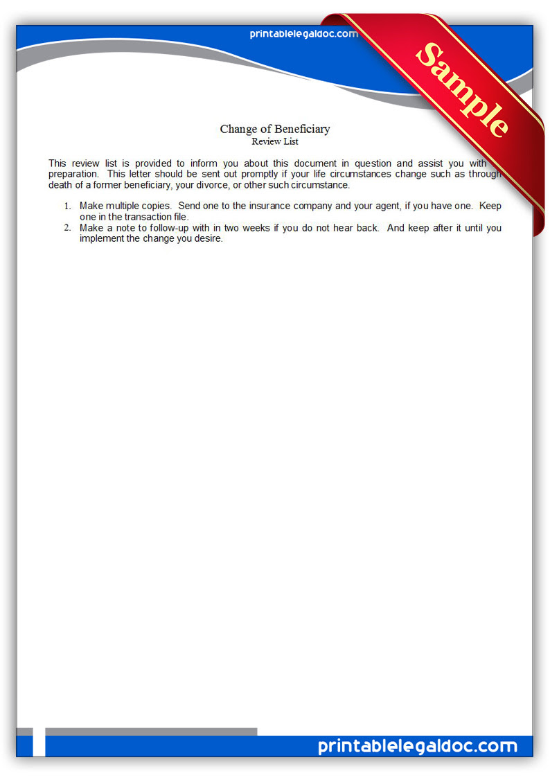 Free Printable Change Of Beneficiary Form (GENERIC)