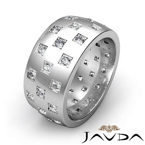 checkered design mens diamond eternity wedding band