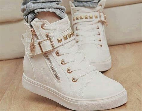 Cute sneakers, studs, studded shoes, white and gold