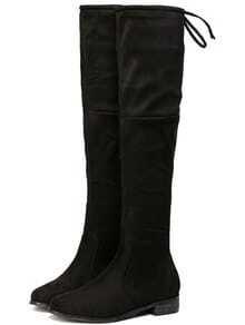 Black Chunky Heel Zipper Boots