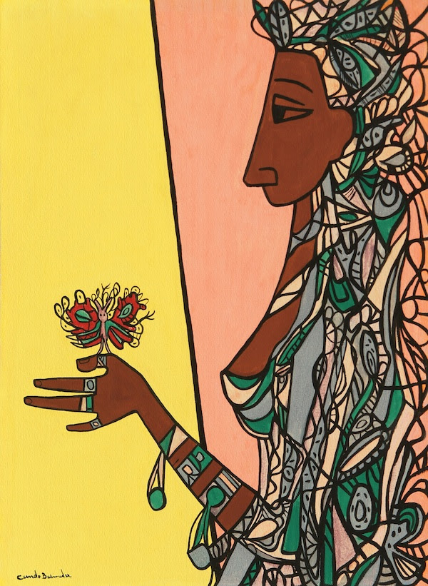 Cundo Bermúdez, Muchacha con Mariposa (Young Lady with Butterfly), 1970, mixed media on heavy paper laid down on board, 30 ¼ x 22 inches