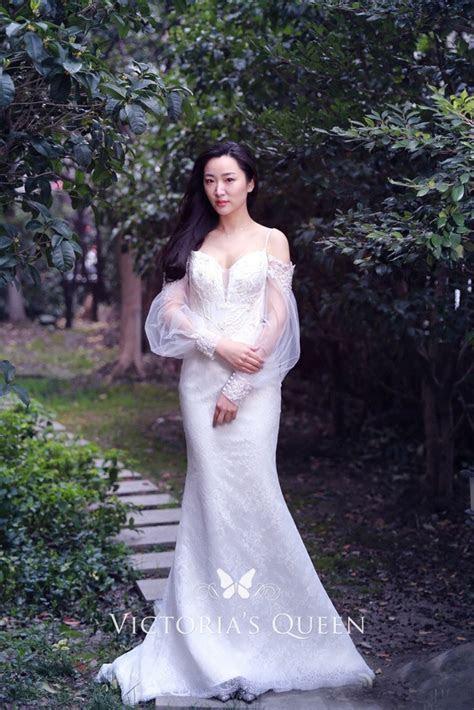 Puffy Sheer Long Sleeves Elegant Off shoulder Lace Beaded