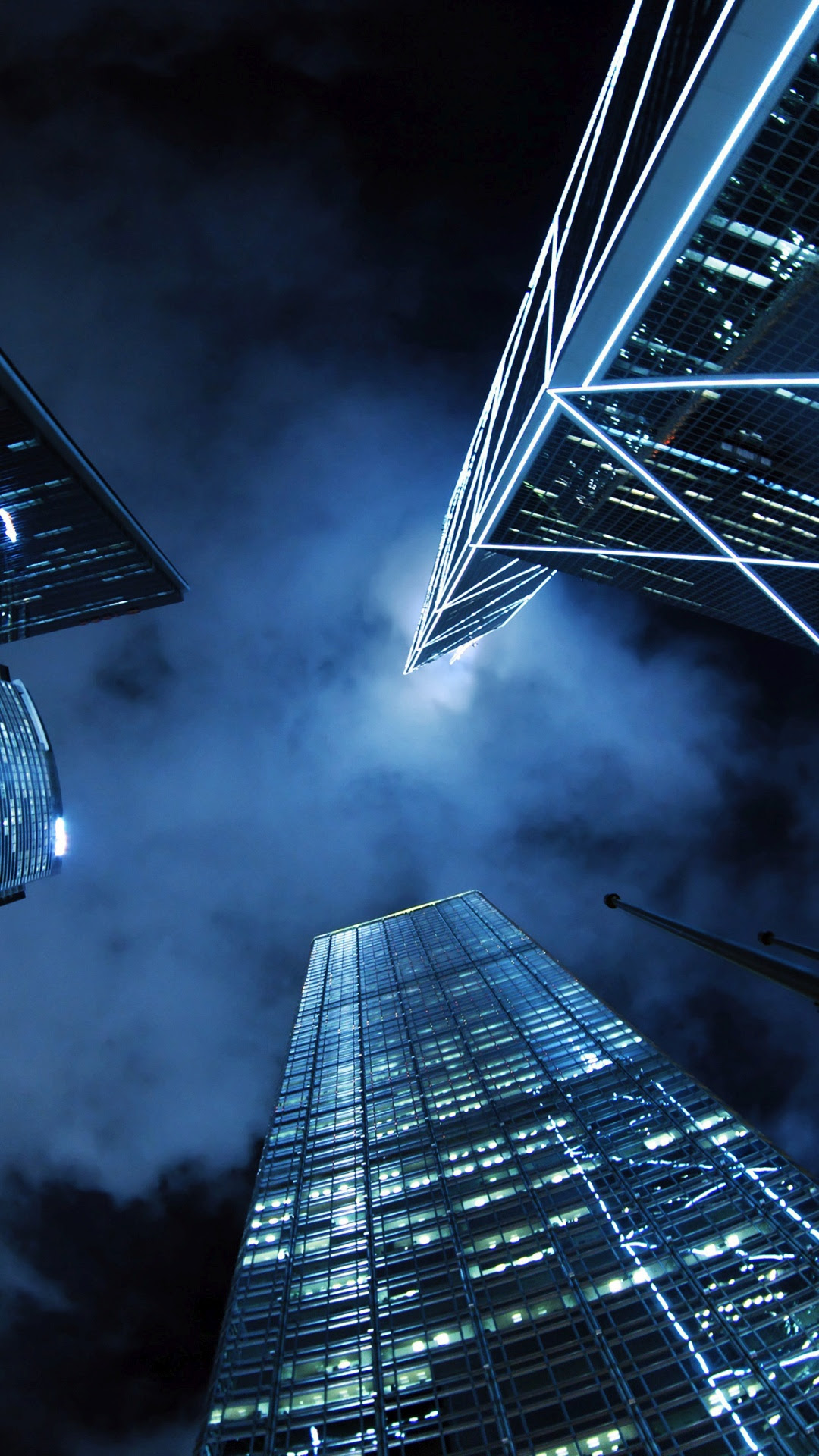 近代的な高層ビル街の夜iphone 8 7 Plus壁紙 Iphoneチーズ