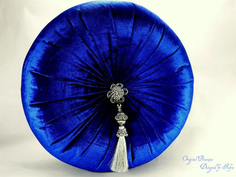 Indigoblue silk velvet round pillow 16 by originalboutique on Etsy