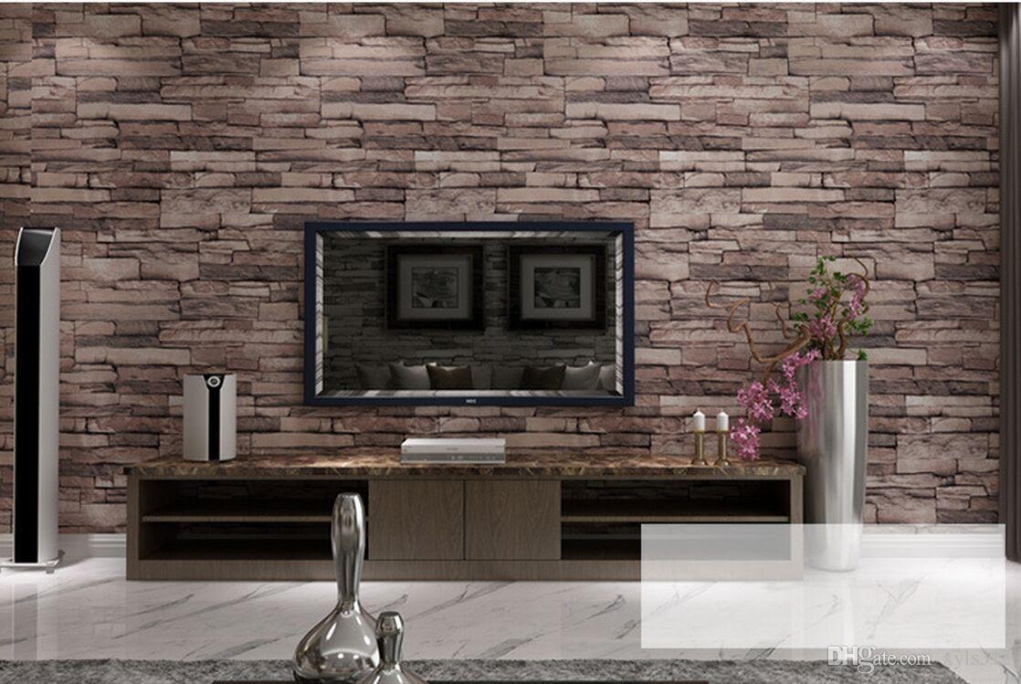 New 3D Luxury Wood Blocks Effect Brown Stone Brick 10M ...