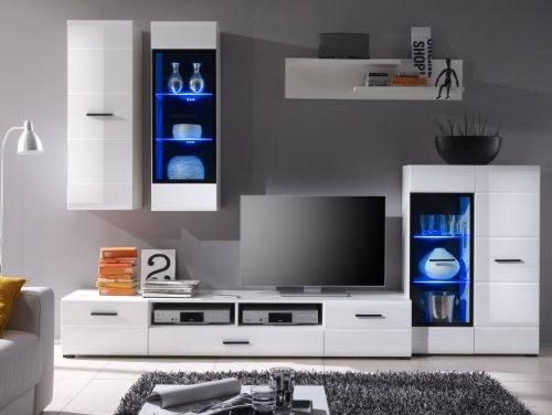 wohnzimmer moderne wohnwand vitrine anbauwand wohnzimmer m bel wei rillenfront hochglanz attac. Black Bedroom Furniture Sets. Home Design Ideas