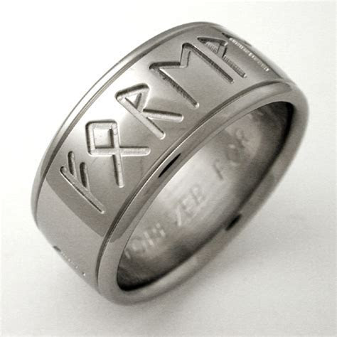 Runes 1 titanium ring with symbols   Titanium Wedding