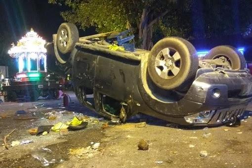 Subang Jaya Sri Maha Marianmman Temple Riot - Car Overturn