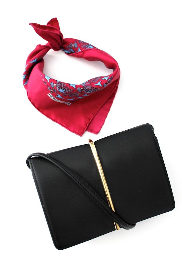 Le Fashion Blog LA Girl Summer Style Casual Cool Look Red Printed Hermes Silk Neck Scarf Black Nina Ricci Mini Crossbody Bag The Real Real