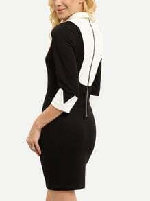 Black White Careers Lapel Bodycon Dress