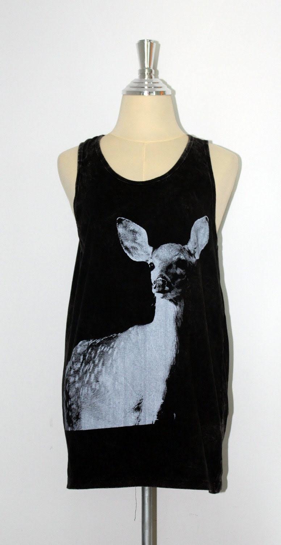 The Yong Deer Animal  Black Dyed fabric  Mini Dress Tunic Tank Top women