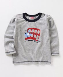 Babyhug Full Sleeves T-Shirt Tour Bus Print - Grey