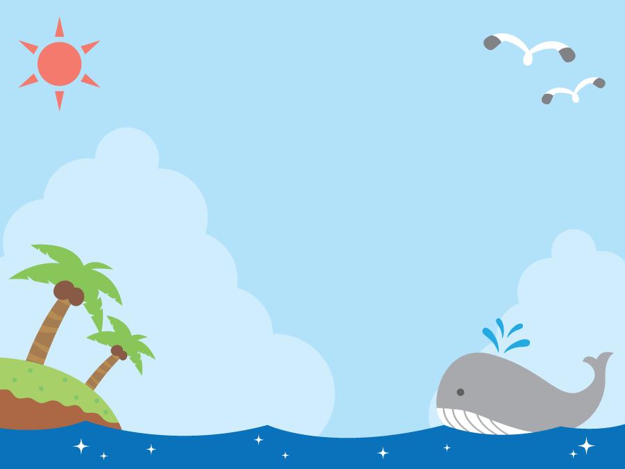 フリーイラスト クジラと南の島が浮かぶ夏の海の背景でアハ体験 Gahag