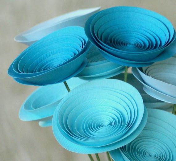 Mother's Day Flowers - Paper Flowers in Aquarium - Aqua, Turquoise, and Seasalt - Ocean Inspired Centerpiece