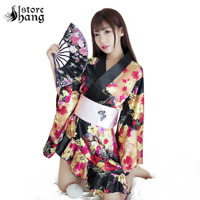 Hot  Women's Sexy Japanese Kimono Cosplay Costume Floral Print Deep V Lingerie Robe Side High Low Sleepw