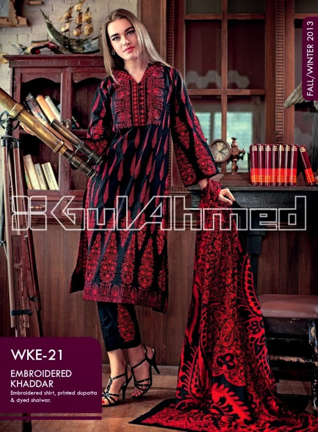 Beautiful-Cute-Girls-New-Fashionable-Dress-Design-by-Gul-Ahmed-Fall-Winter-Collection-2013-14-