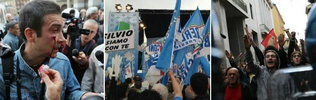 """Manifestazione Pdl Brescia, Berlusconi contestato: """"Vergogna, buffone, mafioso"""""""