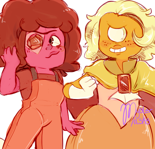so hessonite is a type of garnet so i was wondering what her ruby and sapphire would look like if she were also a fusion,, and voila