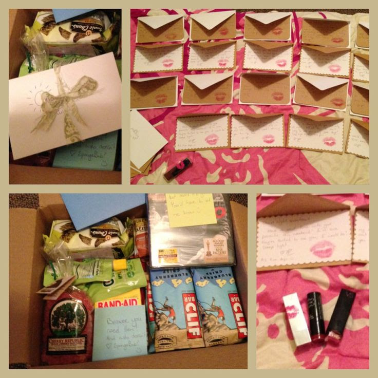 Care package for my boyfriend: wrote two letters for each day until we ...