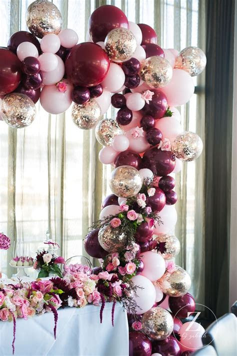 Gorgeous Balloon Arch in pink, gold and burgundy   Arts
