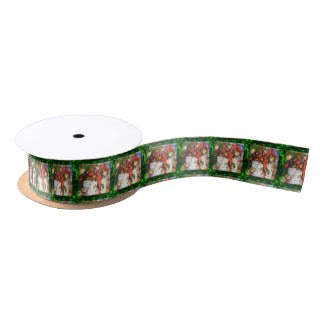 "Merry Elves Wrapping Presen 1.5"" Wide Satin Ribbon"