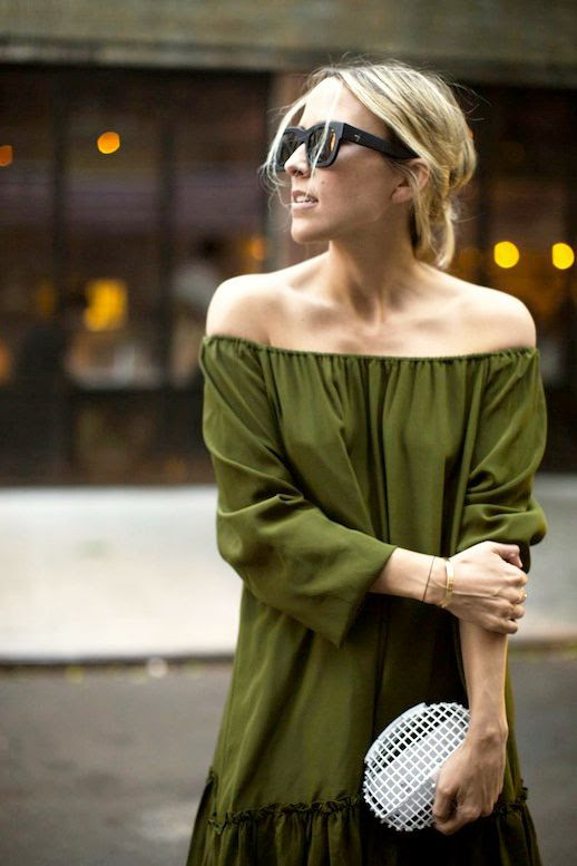 Le Fashion Blog Blogger Style Summer Date Night Look Black Sunglasses  Up Do Hair Dark Green Off The Shoulder Ruffled Dress White Clutch Via Damsel In Dior