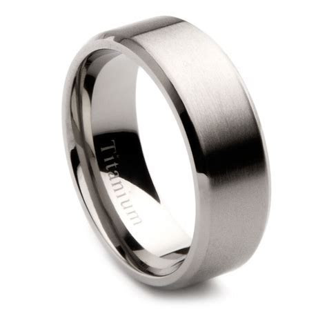 Mens Titanium Brushed Center Wedding Band, 8mm   eBay